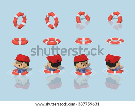 Isometric lifebuoy. Vector isometric lifebuoy. Isometric 3d lifebuoy. Isometric low poly lifebuoy. Isometric cartoon lifebuoy. Isometric lifebuoy set. Isometric lifebuoy collection. - stock vector