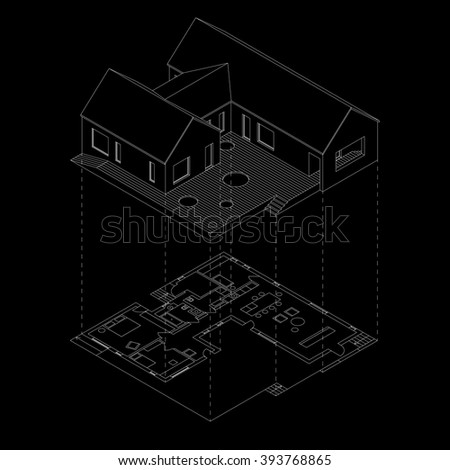 Isometric line house with plan projection on black background. - stock vector