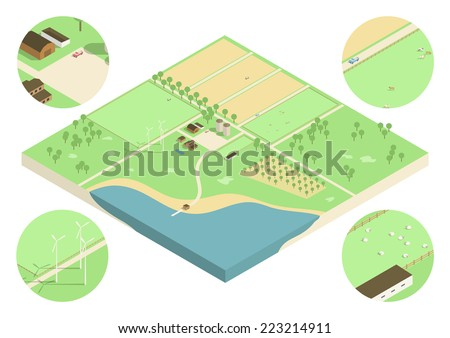 Isometric low detail illustration of a farmland with fields, flocks of sheep and trucks. EPS10 vector image. - stock vector