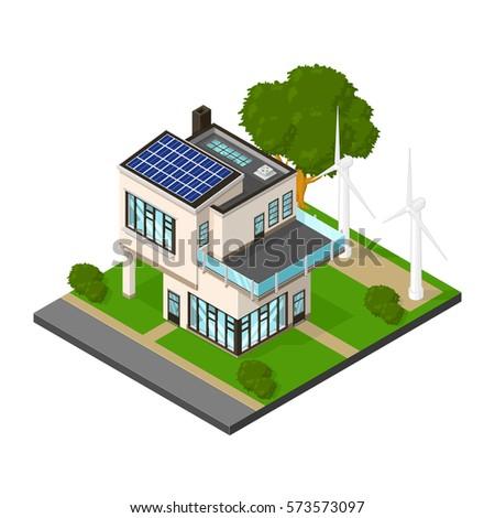 Isometric luxury eco house renewable energy vector stock for Renewable energy house plans