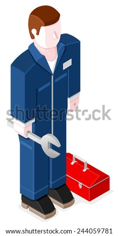 Isometric male mechanic with spanner and tool box. Mechanic Repairman.  - stock vector
