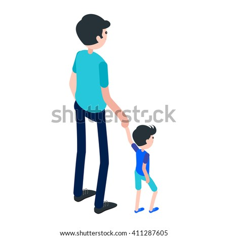 Isometric man and child. Icon dad with son isolated on a white background. A young man with a child. Vector illustration. - stock vector