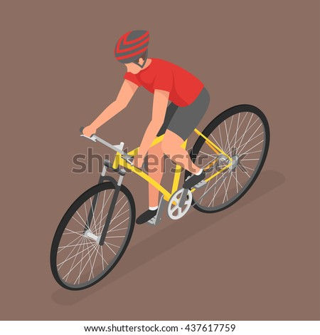 Isometric man on bicycle. Flat style, fitness, people, sport. - stock vector