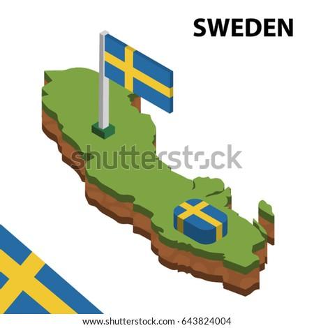 Isometric Map Flag Sweden D Isometric Stock Vector - Sweden map clipart