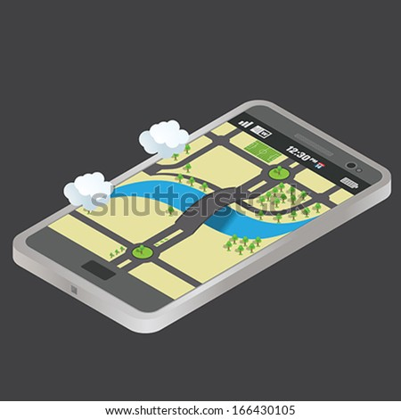 isometric map and phone - stock vector