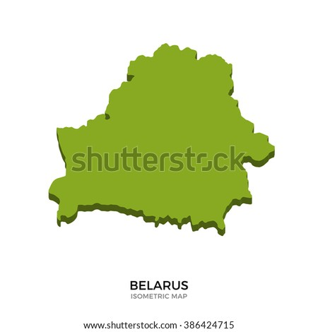 Isometric map of Belarus detailed vector illustration. Isolated 3D isometric country concept for infographic