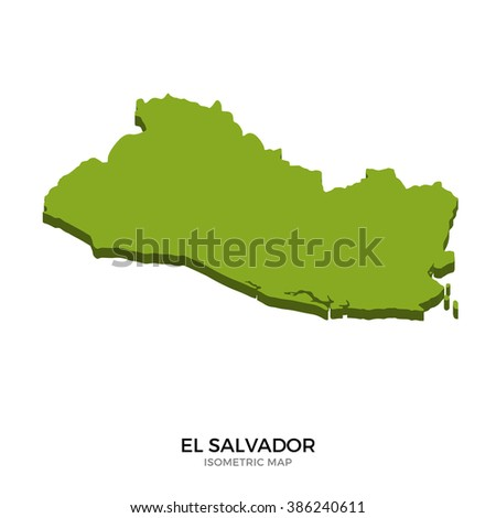 Isometric map of El Salvador detailed vector illustration. Isolated 3D isometric country concept for infographic - stock vector