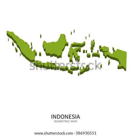 Isometric map of Indonesia detailed vector illustration. Isolated 3D isometric country concept for infographic - stock vector