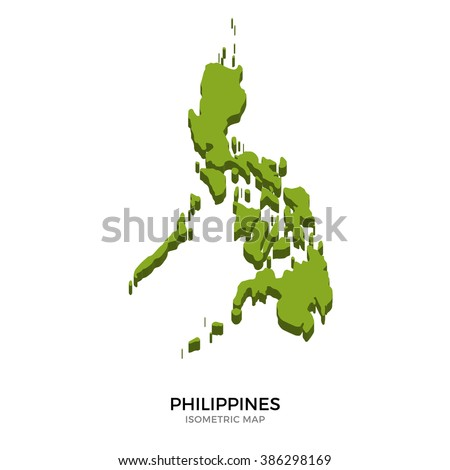 Isometric map of Philippines detailed vector illustration. Isolated 3D isometric country concept for infographic - stock vector
