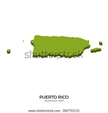 Isometric map of Puerto Rico detailed vector illustration. Isolated 3D isometric country concept for infographic - stock vector