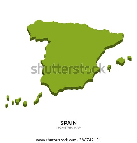Isometric map of Spain detailed vector illustration. Isolated 3D isometric country concept for infographic - stock vector