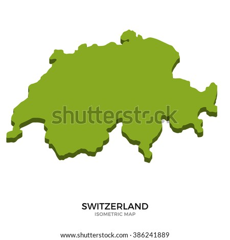 Isometric map of Switzerland detailed vector illustration. Isolated 3D isometric country concept for infographic