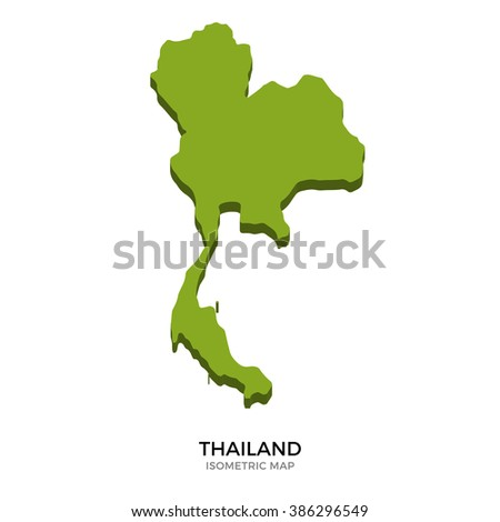 Isometric map of Thailand detailed vector illustration. Isolated 3D isometric country concept for infographic - stock vector
