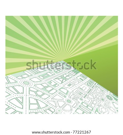 Isometric map of the city against the backdrop of the sunset - stock vector