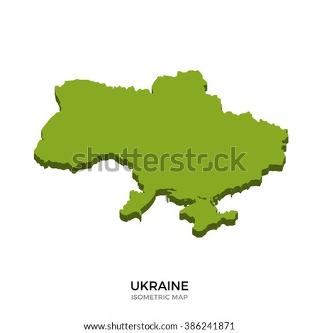 Isometric map of Ukraine detailed vector illustration. Isolated 3D isometric country concept for infographic