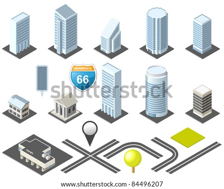 Isometric map toolkit downtown - stock vector