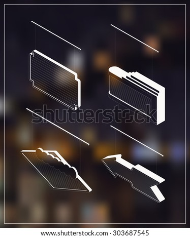 Isometric marquee banners. White drawing on dark background. - stock vector
