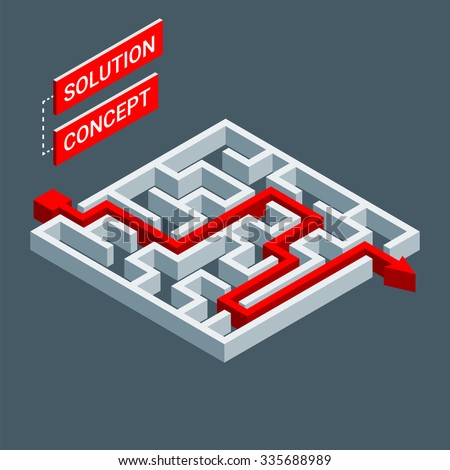 Isometric maze, labyrinth solution concept. Modern infographic template. Isometric vector illustration. - stock vector
