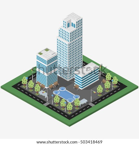 Isometric megalopolis business city. Vector isometric city center map with skyscrapers, offices and fountain