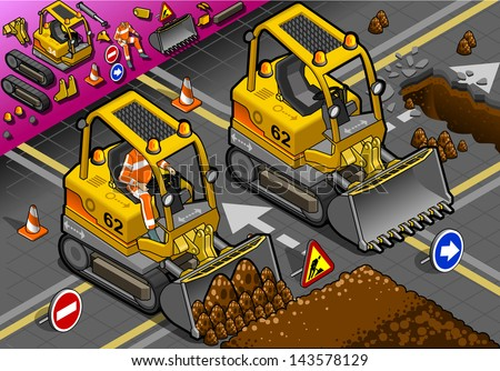 Isometric Mini Excavator Bulldozer in front view. Excavator Icon. Excavator JPG. Excavator JPEG. Picture. Image. Graphic. Art. Illustration. Drawing. Object. Excavator Vector. Excavator EPS. AI. - stock vector