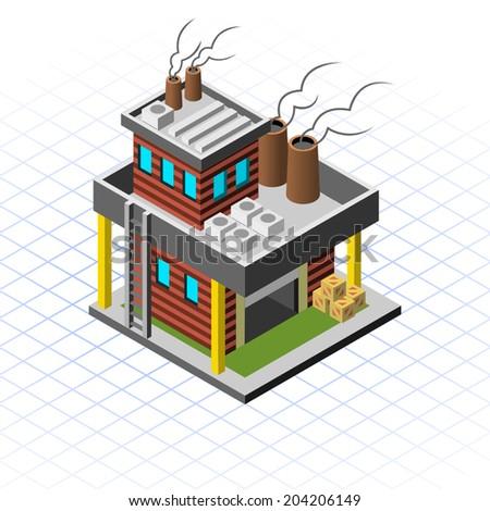 Isometric Mini Factory - stock vector
