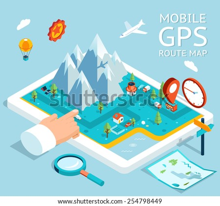 Isometric mobile GPS navigator. Flat map with notation and markers. Vector illustration - stock vector