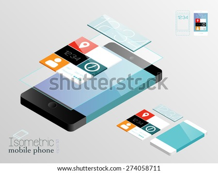 Isometric mobile phones in black and white with layered apps panel and touch screen, structured and named layers, EPS 10 - stock vector