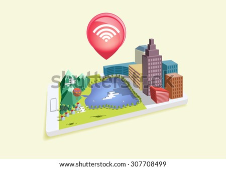 Isometric mobile wifi. Design for all kind of application access from anywhere they have internet. - stock vector
