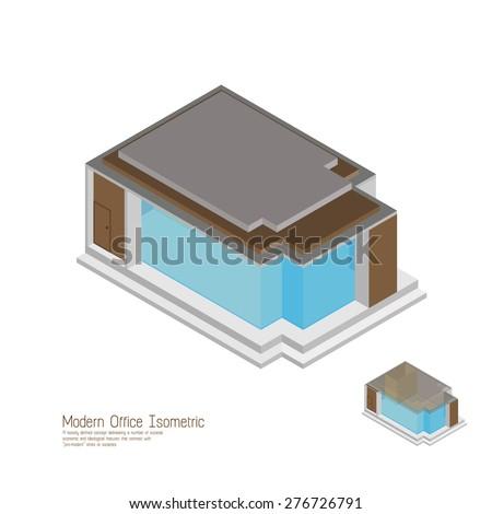 Isometric moderm home. vector illustrations,  - stock vector