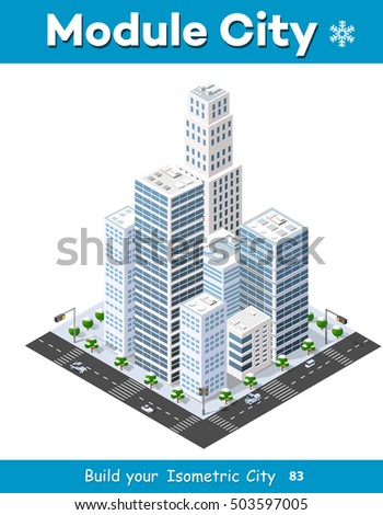 Isometric module of the modern 3D city. Winter landscape snowy trees, streets. Three-dimensional views of skyscrapers, houses, buildings and urban areas with transport roads, intersections