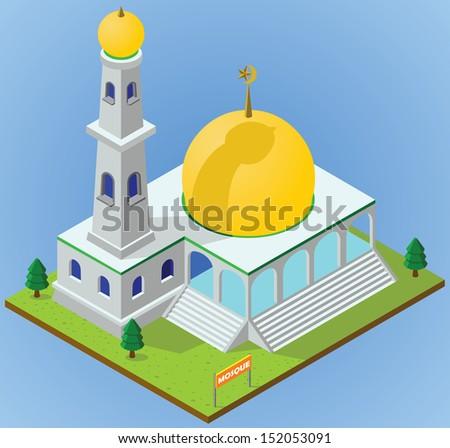 Isometric mosque - stock vector