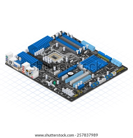 Isometric Motherboard Vector Illustration - stock vector