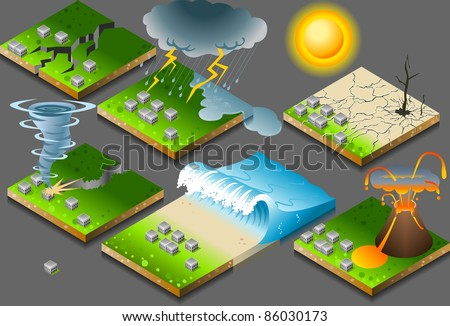 Isometric Natural Disaster on Tiles. Tornado. Tzunami. Inundation. Drought. Earthquake. Icon. Disaster JPG. JPEG. Picture. Image. Graphic. Art. Illustration. Drawing. Object. Disaster Vector. EPS. AI. - stock vector