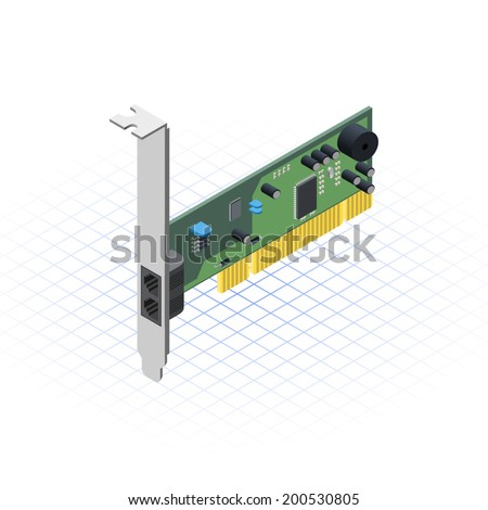 Isometric Network Card Vector Illustration - stock vector