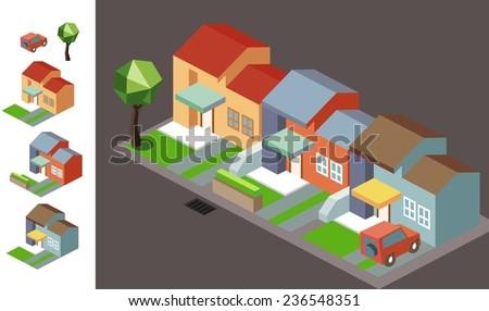 isometric Night neighbourhood. vector illustration - stock vector