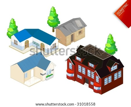 Isometric Objects Vector. Isometric Series. Compose Your Own World Easily with Isometric Works. - stock vector