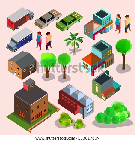 isometric of building and people - stock vector
