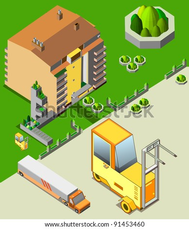 isometric of building and transportation - stock vector