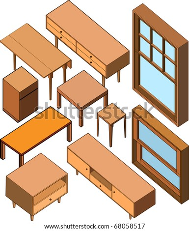 isometric of wood furniture - stock vector