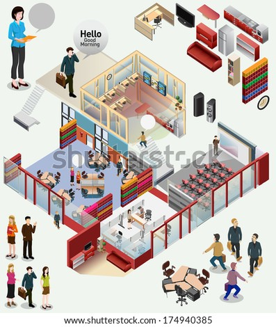 isometric of workstation. office - stock vector