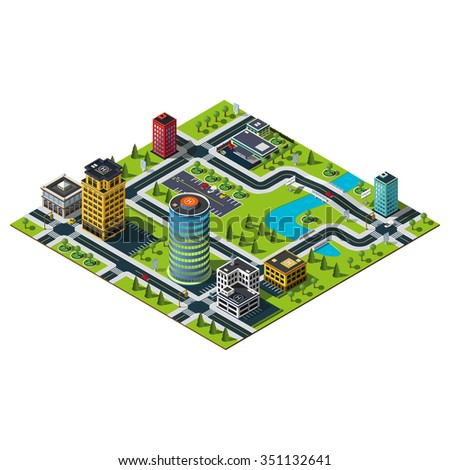 Isometric office building, mall building and police department illustration. Bridges and river. Isometric city.
