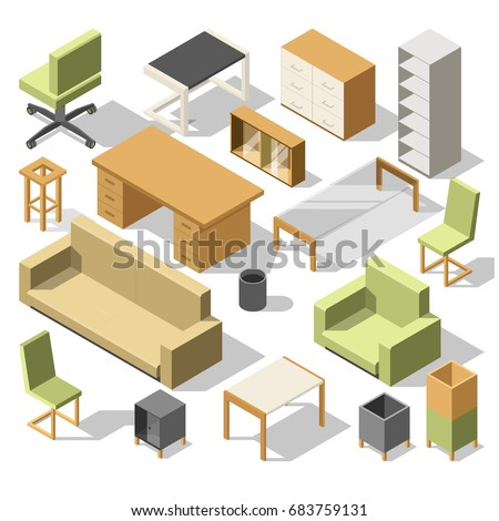 isometric office furniture vector collection. Isometric Office Furniture. 3d Cabinet With Table, Chairs And Armchair, Sofa Shelves Furniture Vector Collection T
