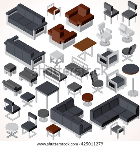 Isometric Office Furniture. Vector Collection. Set of Various Cabinets, Shelves, Tables, BookCases, Desks etc. - stock vector