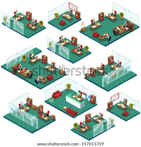 Isometric Office People Structure with Different Departments - stock vector