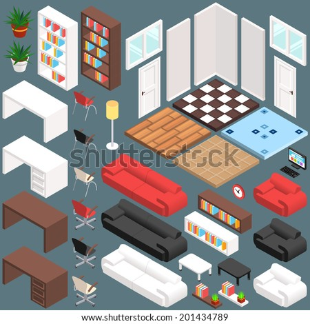 Isometric Office Planning. 3D Vector Creation Kit - stock vector