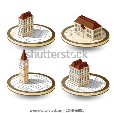 Isometric old houses on a round base