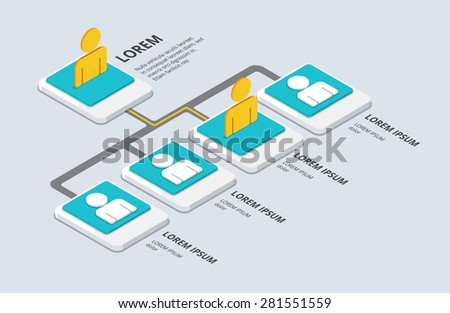 Isometric organization and structure. flat 3d organization pop-up from ground. vector illustration - stock vector