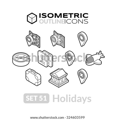 Isometric outline icons, 3D pictograms vector set 51 - Holidays symbol collection - stock vector