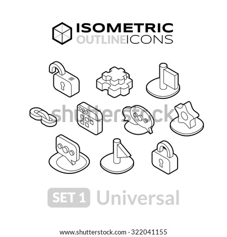 Isometric outline icons, 3D pictograms vector set 1 - universal symbol collection - stock vector