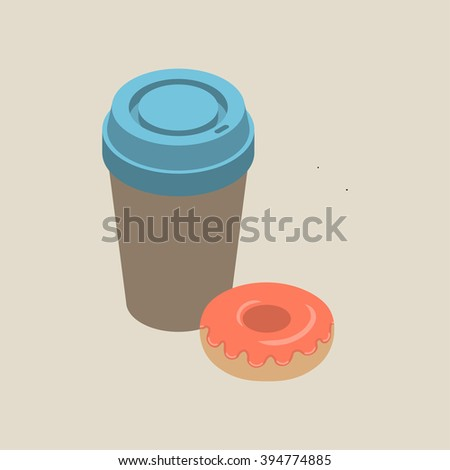 Isometric paper cup of coffee with blue cap and glazed donut isolated on beige background, vector illustration.